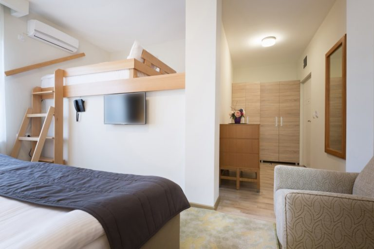 Hostel room with two beds