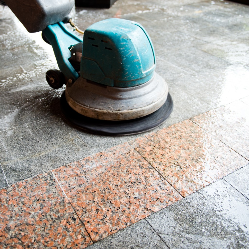 tiles being cleaned