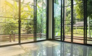 glass sliding door with black frame