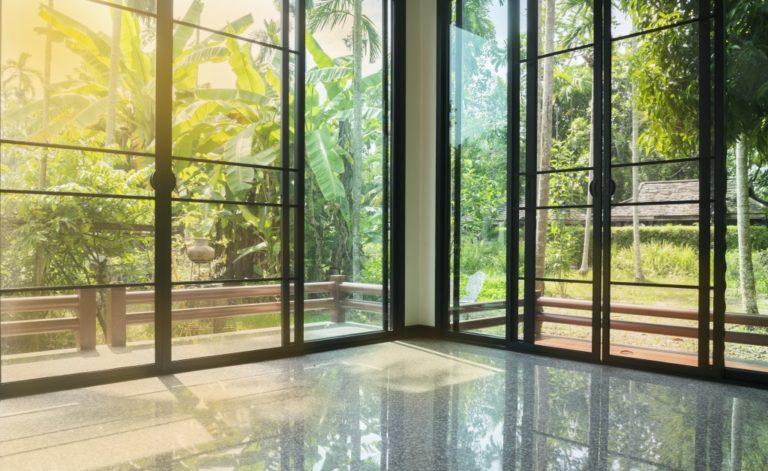 glass sliding door with black frame