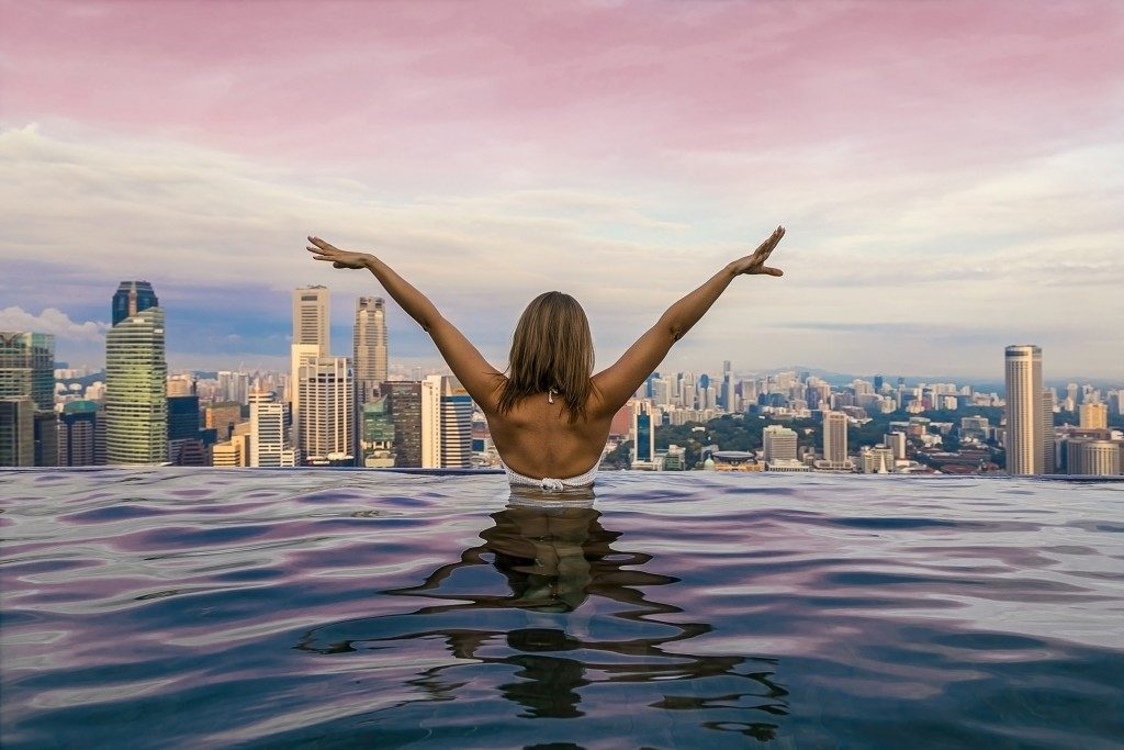 girl in infinity pool