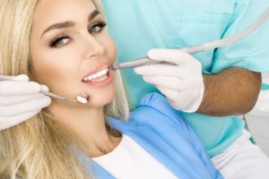 woman with white teeth in the dental clinic