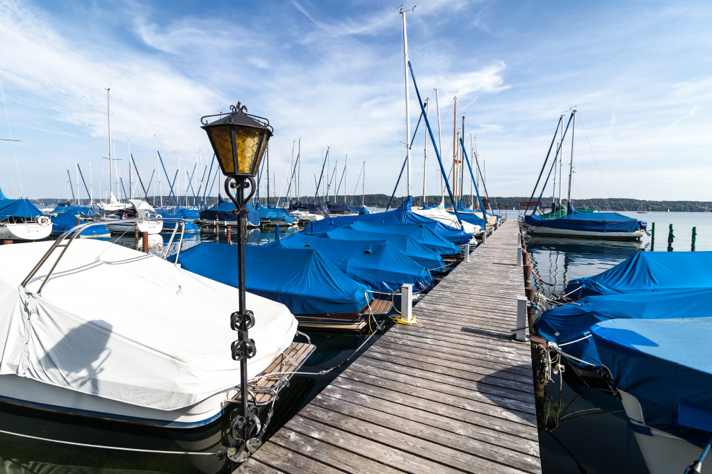 a port where boat and yachts are parked