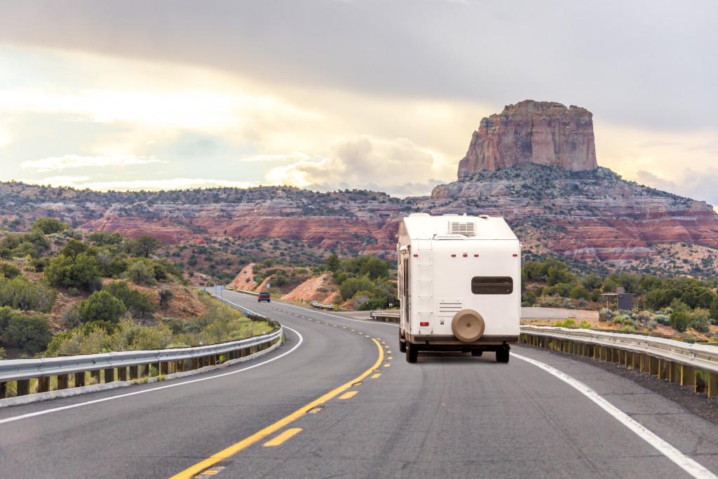 recreational vehicle traversing a road